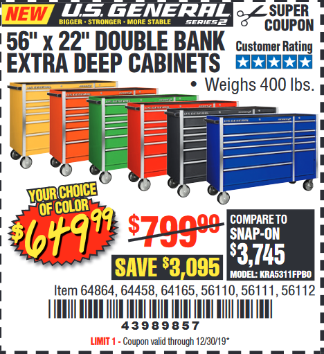"www.hfqpdb.com - 56"" X 22"" DOUBLE BANK EXTRA DEEP CABINETS Lot No. 64458/64457/64164/64165/64866/64864/56110/56111/56112"