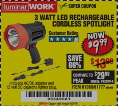 www.hfqpdb.com - 3 WATT LED RECHARGEABLE CORDLESS SPOTLIGHT Lot No. 61777/69286/61960