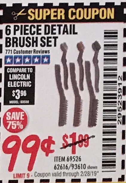 www.hfqpdb.com - 6 PIECE DETAIL BRUSH SET Lot No. 93610/69526/62616