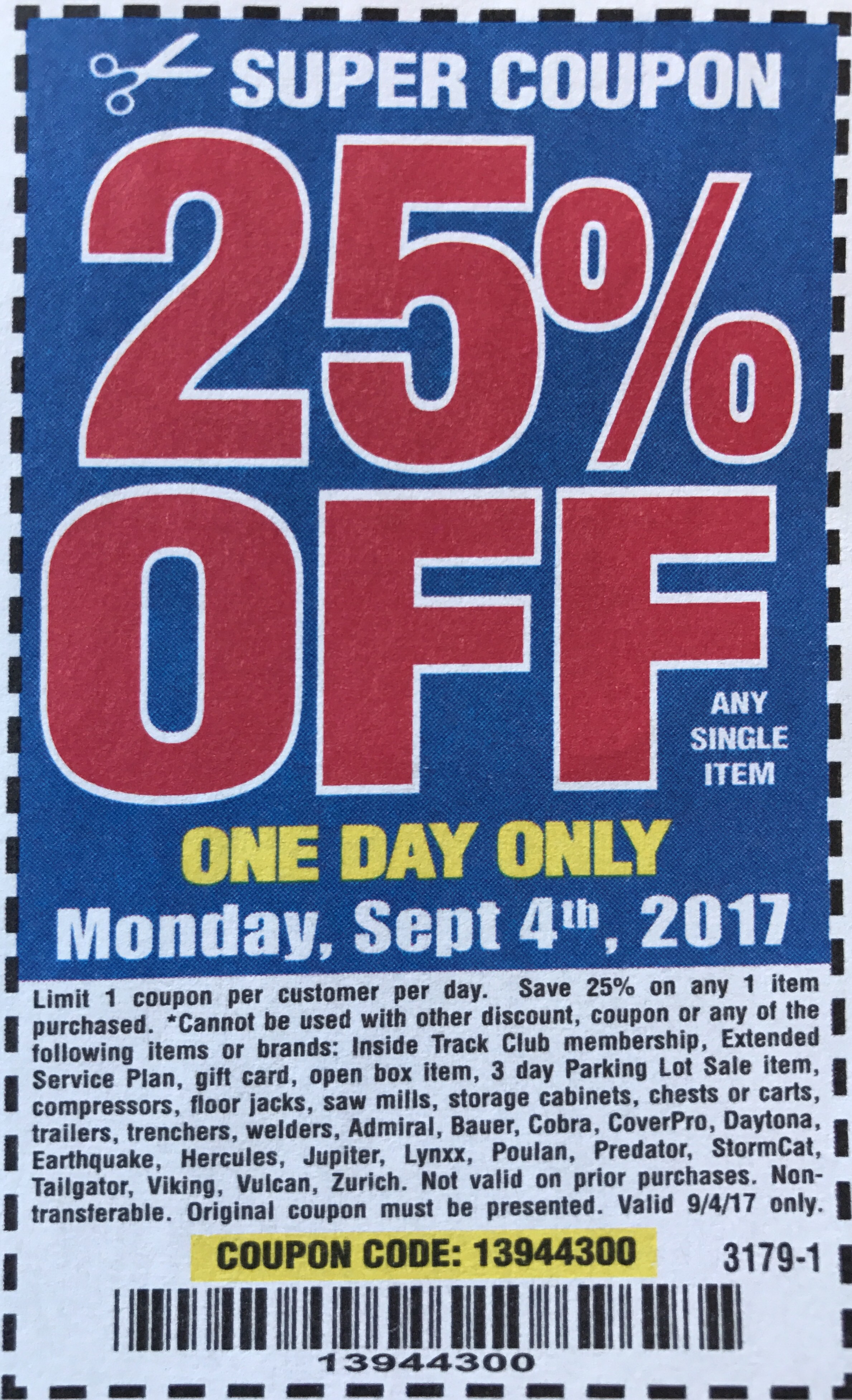 Harbor Freight 25 percent off coupon