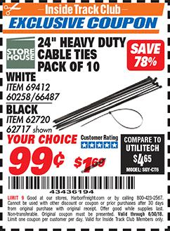 """www.hfqpdb.com - 24 """" HEAVY DUTY CABLE TIES PACK OF 10 Lot No. White Item 69412/60258/66487  Black Item 62720"""