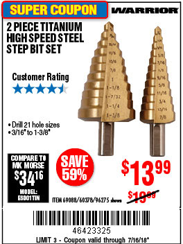 Harbor Freight 2 PIECE TITANIUM NITRIDE COATED HIGH SPEED STEEL STEP DRILL BITS coupon