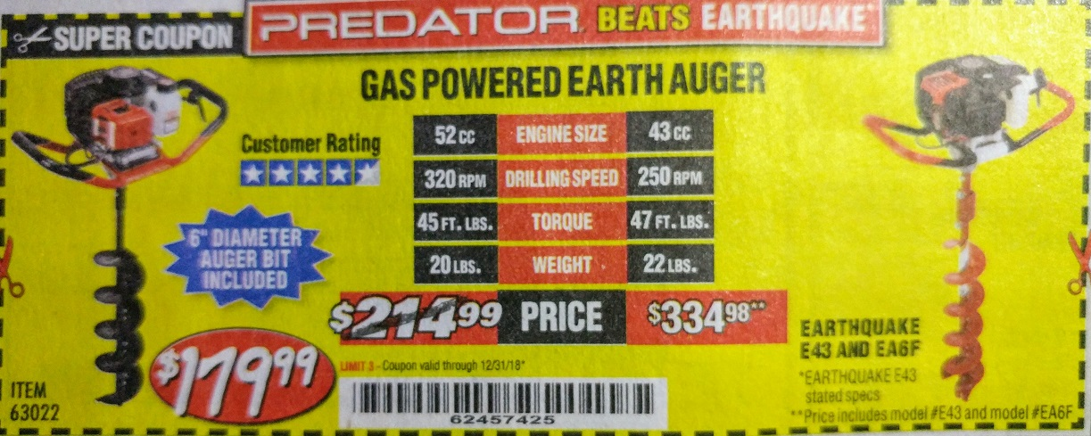 Harbor Freight GAS POWERED EARTH AUGER coupon