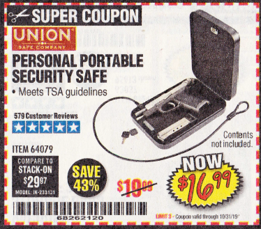 Harbor Freight PERSONAL PORTABLE SECURITY SAFE coupon