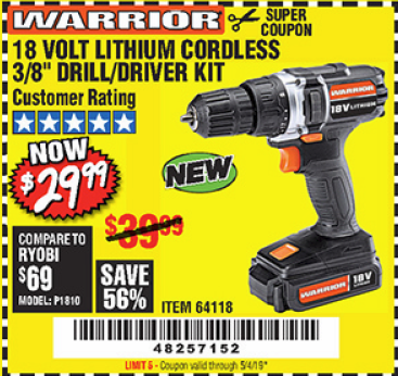 "www.hfqpdb.com - WARRIOR 18V LITHIUM 3/8"" CORDLESS DRILL Lot No. 64118"