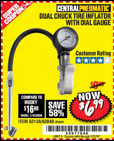 Harbor Freight DUAL CHUCK TIRE INFLATOR WITH DIAL GAUGE coupon