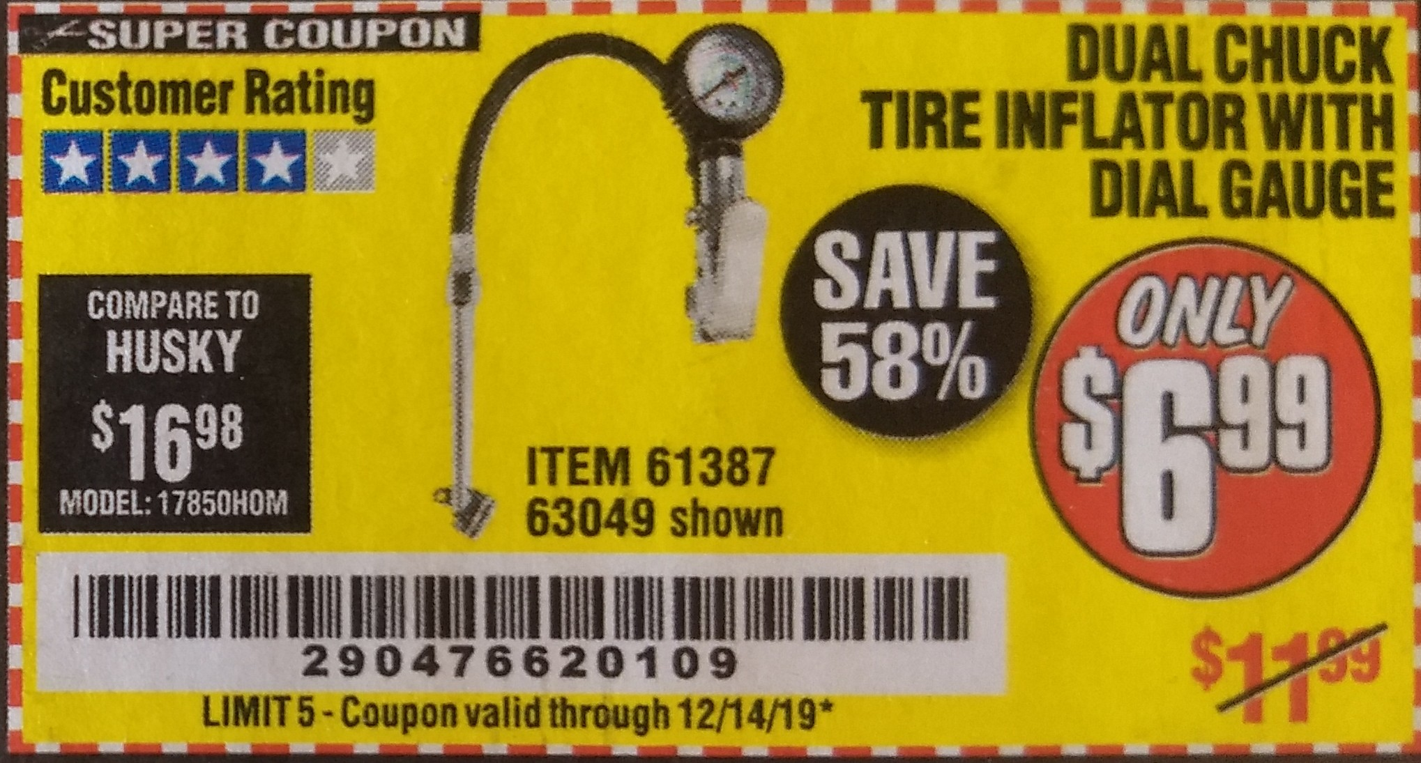 www.hfqpdb.com - DUAL CHUCK TIRE INFLATOR WITH DIAL GAUGE Lot No. 68271/61387