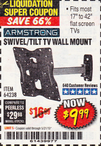 Harbor Freight SWIVEL/TILT TV WALL MOUNT coupon