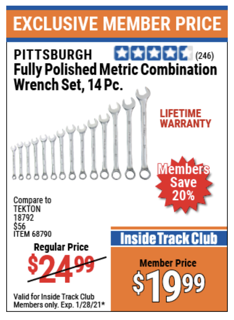 www.hfqpdb.com - 14 PIECE FULLY POLISHED COMBINATION WRENCH SETS Lot No. 68792/68790