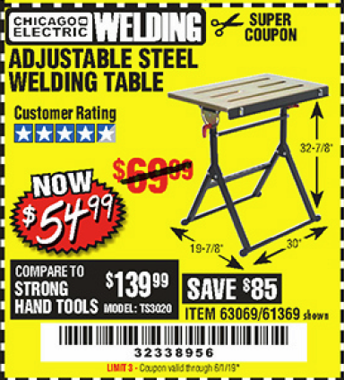 www.hfqpdb.com - ADJUSTABLE STEEL WELDING TABLE Lot No. 63069/61369