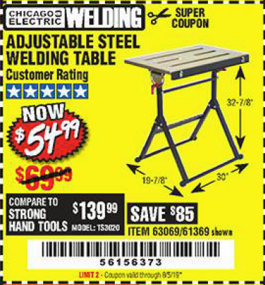 Harbor Freight ADJUSTABLE STEEL WELDING TABLE coupon