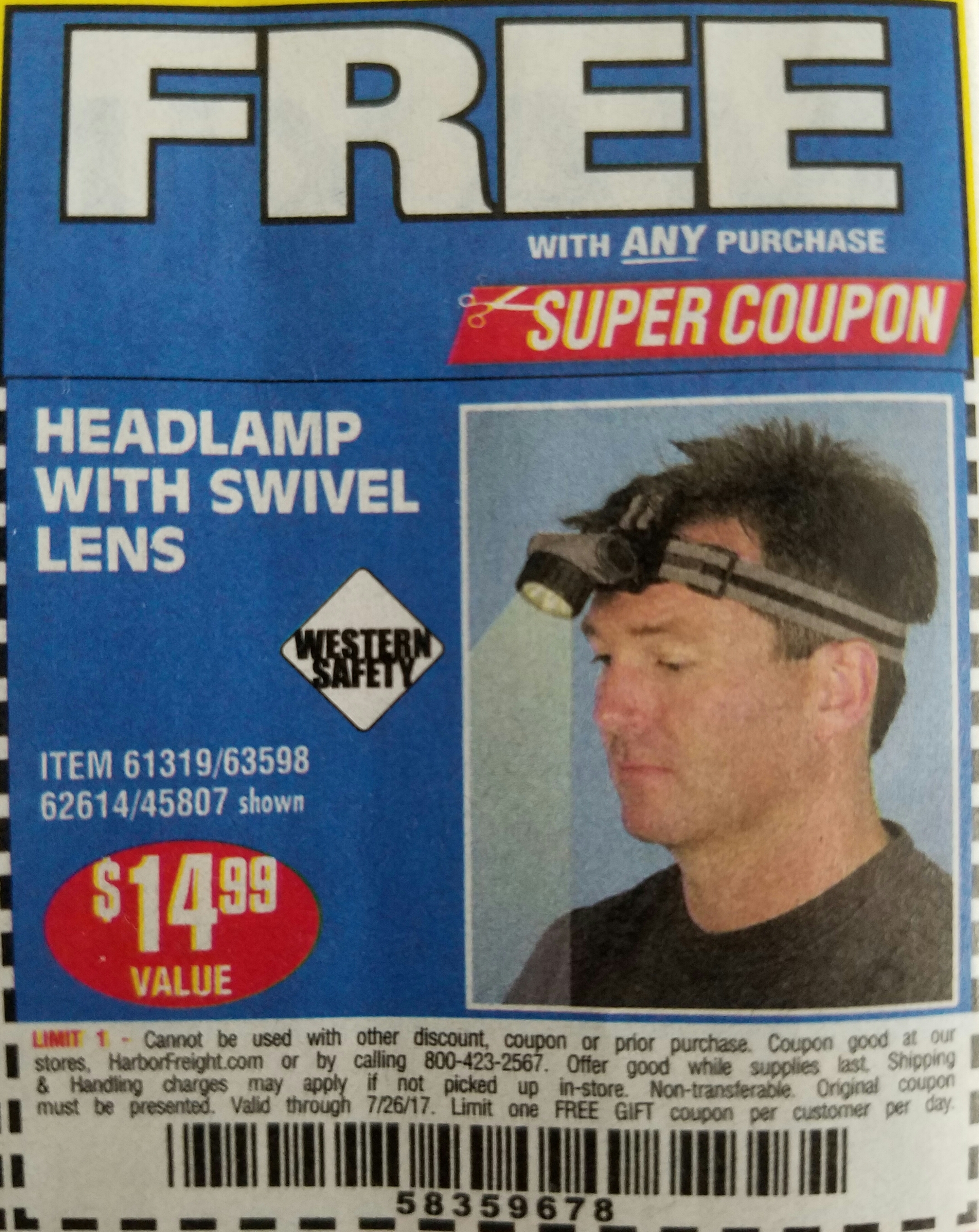 Harbor Freight HEADLAMP WITH SWIVEL LENS coupon