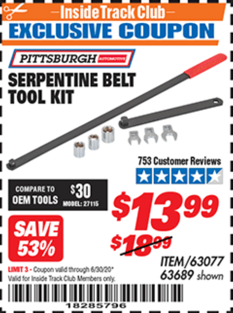 Harbor Freight SERPENTINE BELT TOOL KIT coupon