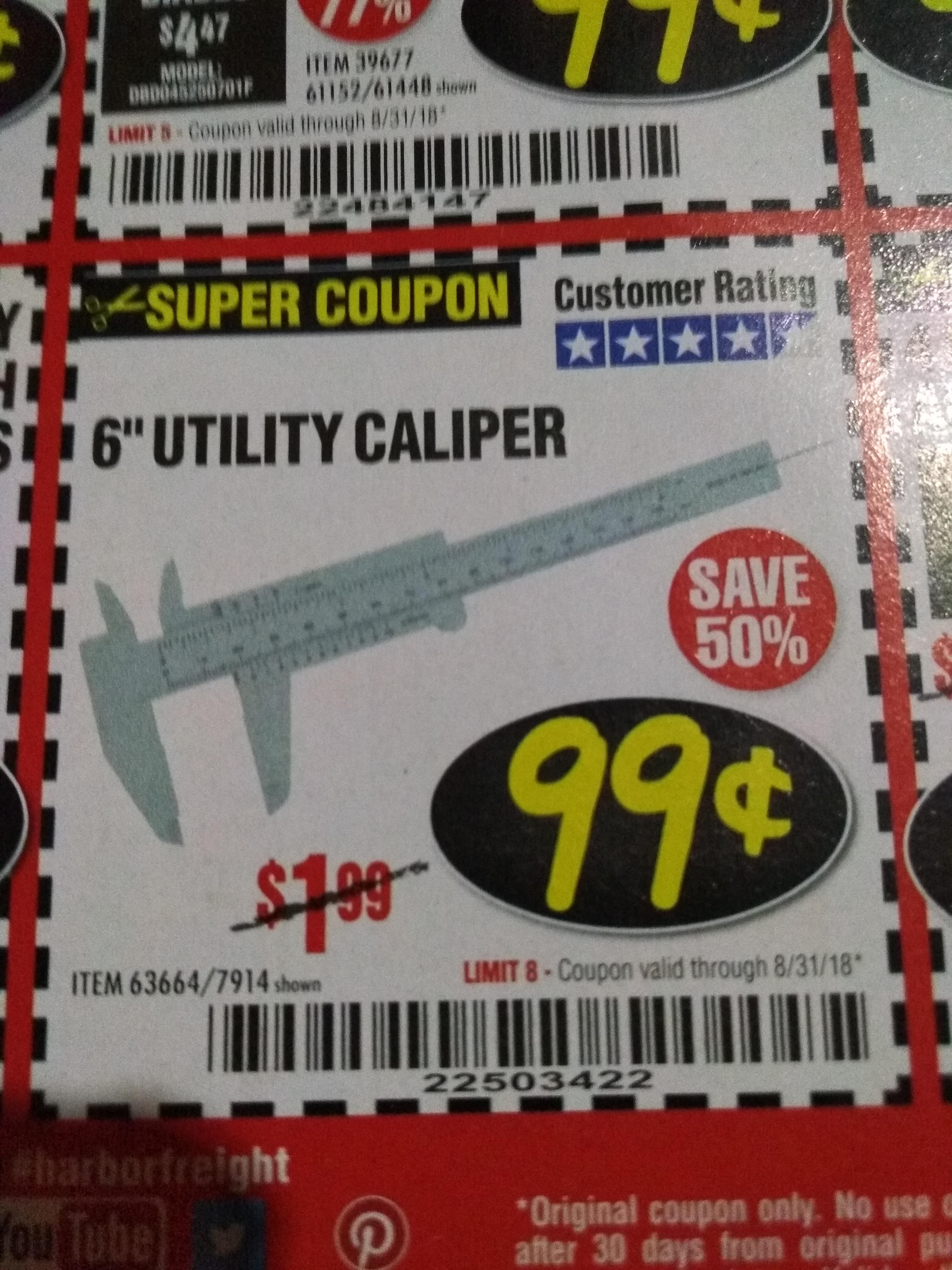 """www.hfqpdb.com - 6"""" UTILITY CALIPER Lot No. 63664"""