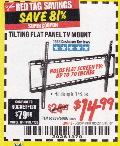 Harbor Freight LARGE TILT MOUNT FLAT PANEL TV BRACKET coupon