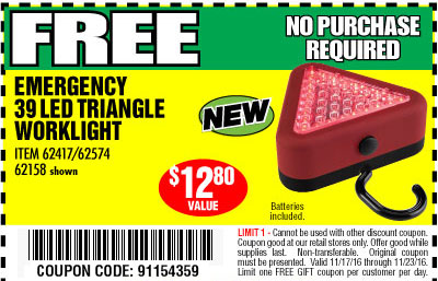 Harbor freight tools coupon database free coupons 25 percent free emergency 39 led triangle worklight lot no 621586241762574 expired 112316 npr coupon code 91154359 harbor freight sciox Image collections