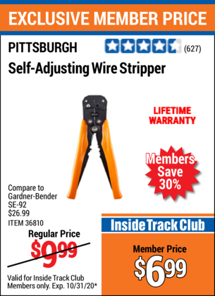 Harbor Freight HEAVY DUTY SELF-ADJUSTING WIRE STRIPPER coupon