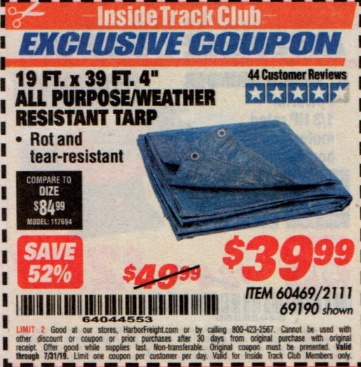 "www.hfqpdb.com - 19 FT. X 39 FT. 4"" ALL PURPOSE/WEATHER RESISTANT TARP Lot No. 69190/60469/2111"