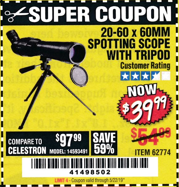 www.hfqpdb.com - 20-60 X 60MM SPOTTING SCOPE WITH TRIPOD Lot No. 62774