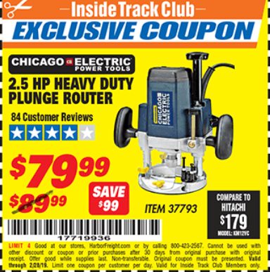 www.hfqpdb.com - CHICAGO ELECTRIC 2.5 HP HEAVY DUTY PLUNGE ROUTER Lot No. 37793