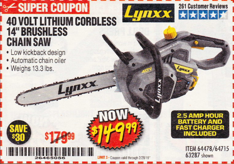 "www.hfqpdb.com - LYNXX 40 V LITHIUM CORDLESS 14"" BRUSHLESS CHAIN SAW Lot No. 64715/64478/63287"