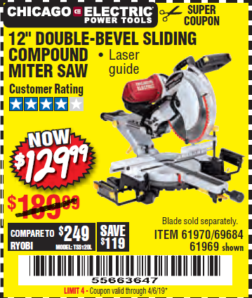 "www.hfqpdb.com - 12"" SLIDING COMPOUND DOUBLE-BEVEL MITER SAW WITH LASER GUIDE Lot No. 69684/61776/61969/61970"