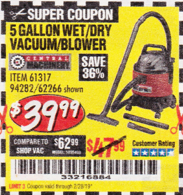 www.hfqpdb.com - 5 GALLON WET/DRY SHOP VACUUM AND BLOWER Lot No. 62266/94282/61317