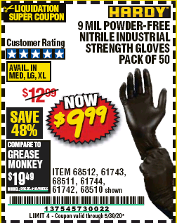 www.hfqpdb.com - 9 MIL POWDER-FREE NITRILE INDUSTRIAL GLOVE PACK OF 50 Lot No. 68510/61742/68511/61744/68512/61743