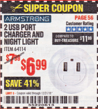Harbor Freight 2 USB PORT CHARGER AND NIGHT LIGHT coupon