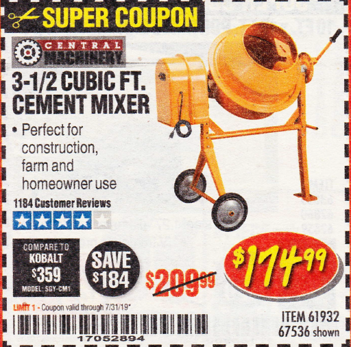 Harbor Freight 3-1/2 CUBIC FT. CEMENT MIXER coupon