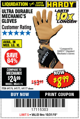 Harbor Freight ULTRA DURABLE MECHANIC'S GLOVES coupon