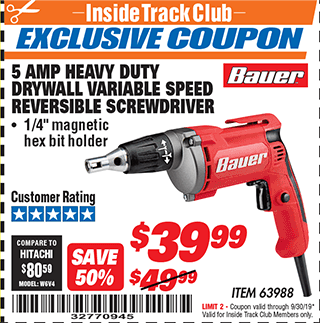Harbor Freight HEAVY DUTY DRYWALL VARIABLE SPEED REVERSIBLE SCREWDRIVER coupon