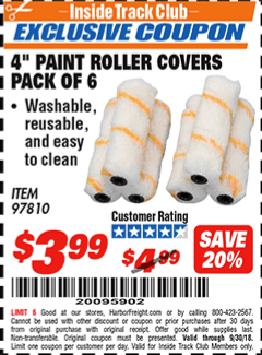 """www.hfqpdb.com - 4"""" PAINT ROLLER COVERS PACK OF 6 Lot No. 97810"""