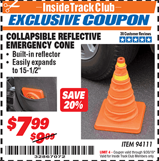 Harbor Freight COLLAPSIBLE REFLECTIVE EMERGENCY CONE coupon