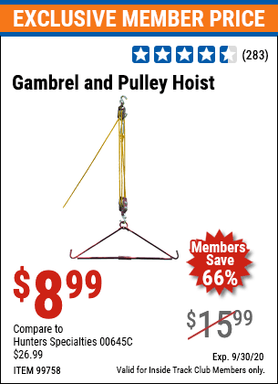 Harbor Freight GAMBREL AND PULLEY HOIST coupon