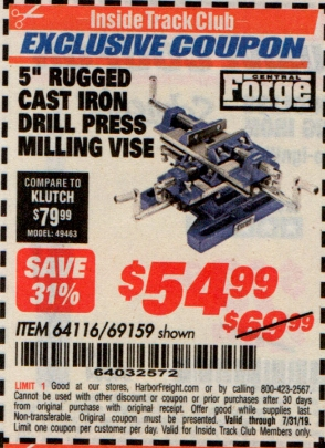 "www.hfqpdb.com - 5"" RUGGED CAST IRON DRILL PRESS MILLING VICE Lot No. 64116/69159"