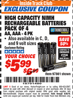 www.hfqpdb.com - HIGH CAPACITY NIMH RECHARGEABLE BATTERIES (AA/AAA PACK OF 4, C/D PACK OF 2, 9V PACK OF 1) Lot No. 97866/97861/97864/97872/97865