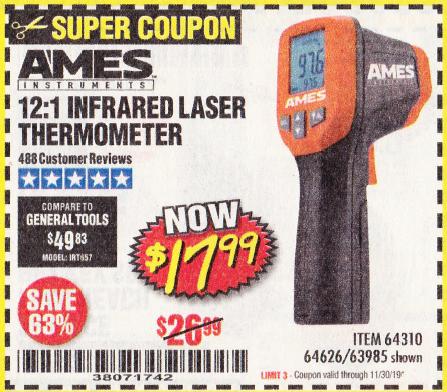www.hfqpdb.com - 12:1 INFRARED LASER THERMOMETER Lot No. 64310/64626/63985