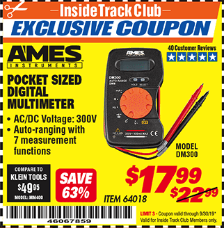 Harbor Freight POCKET SIZED DIGITAL MULTIMETER coupon
