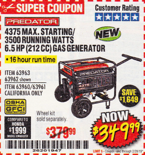 www.hfqpdb.com - 4375 MAX STARTING/3500 RUNNING WATTS, 6.5 HP (212CC) GAS GENERATOR Lot No. 63962/63963/63960/63961