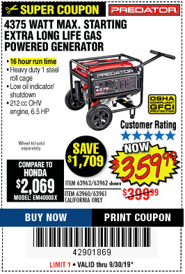 Harbor Freight 4375 MAX STARTING/3500 RUNNING WATTS, 6.5 HP (212CC) GAS GENERATOR coupon