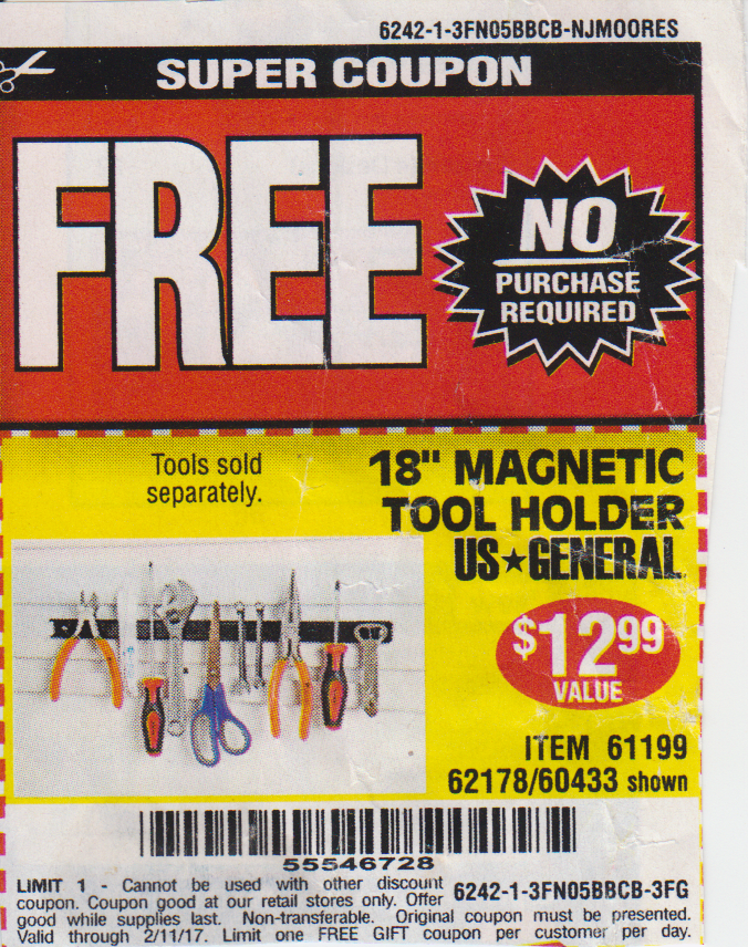 Harbor freight tools free coupons