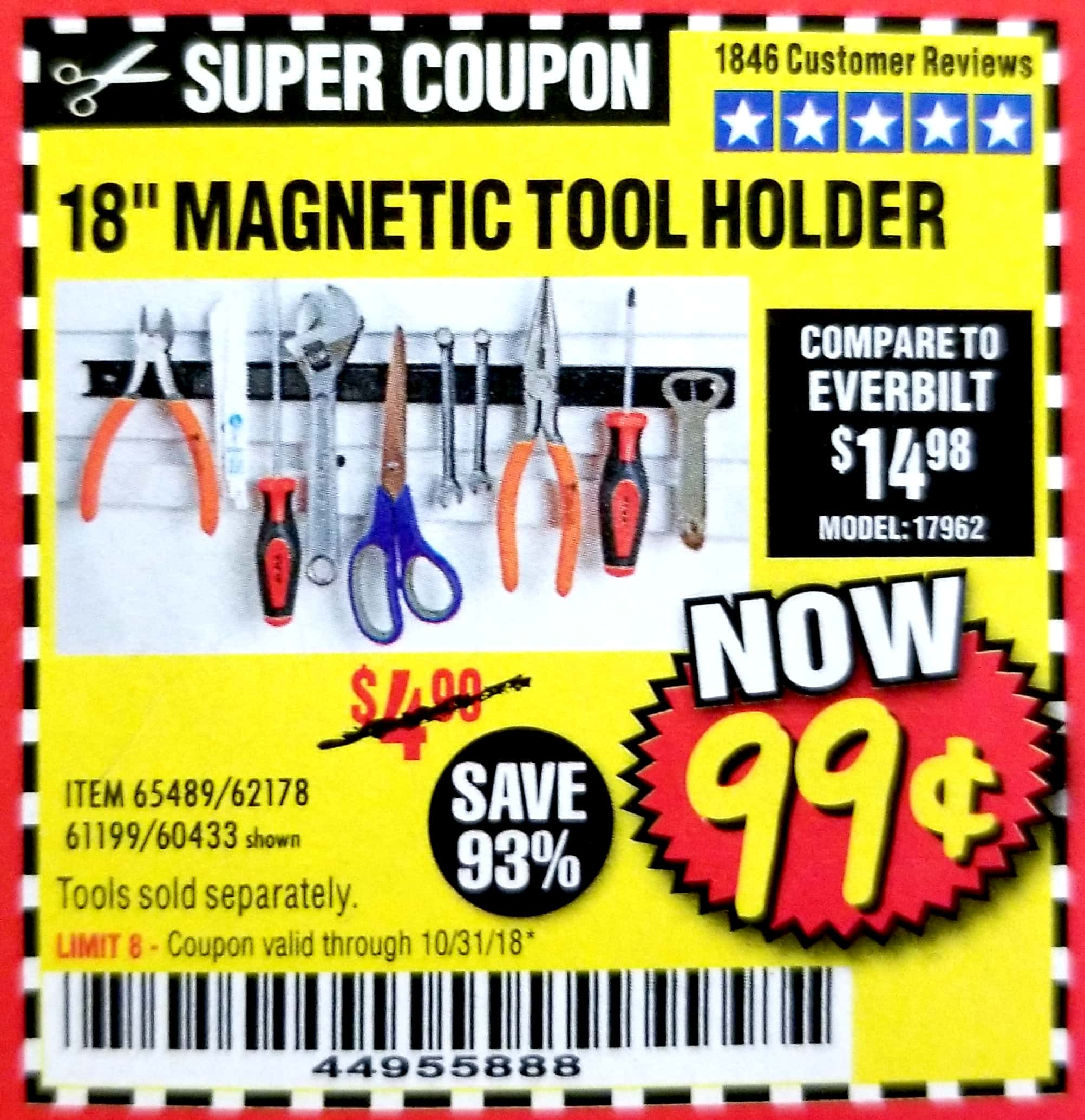 "www.hfqpdb.com - 18"" MAGNETIC TOOL HOLDER Lot No. 65489/60433/61199/62178"