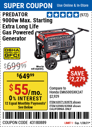 www.hfqpdb.com - PREDATOR 9000 PEAK / 7250 RUNNING WATTS, 13 HP (420 CC) GAS GENERATOR Lot No. 63970/63971/63968/63969