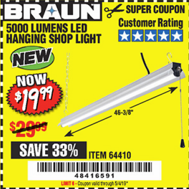 www.hfqpdb.com - BRAUN 5000 LUMENS LED HANGING SHOP LIGHT Lot No. 64410