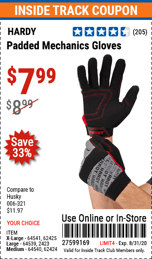 Harbor Freight HARDY PADDED MECHANIC'S GLOVES coupon