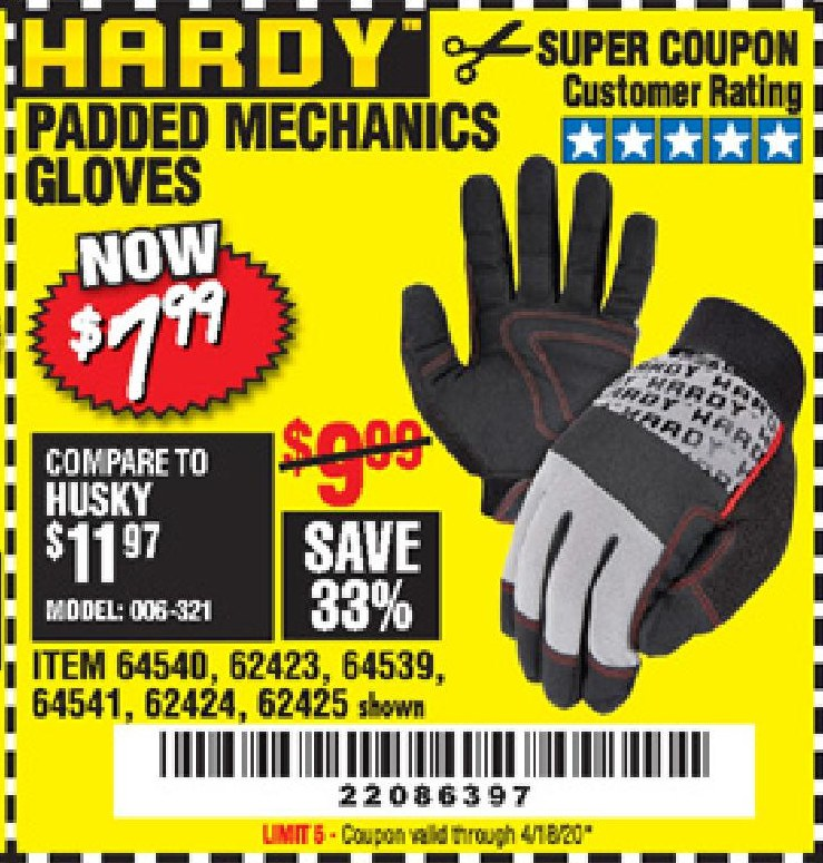 www.hfqpdb.com - HARDY PADDED MECHANIC'S GLOVES Lot No. 64539/62424/64540/62425/64541/62423