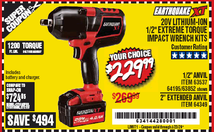 "www.hfqpdb.com - EARTHQUAKE XT 20 VOLT LITHIUM CORDLESS 1/2"" EXTREME TORQUE IMPACT WRENCH KIT WITH 2"" ANVIL Lot No. 64349"