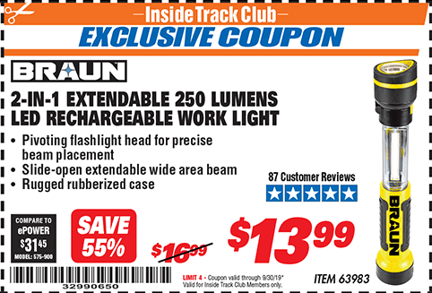 www.hfqpdb.com - BRAUN 2-IN-1 EXTENDABLE 250 LUMENS LED RECHARGEABLE WORKLIGHT  Lot No. 63983