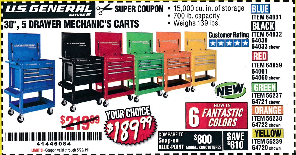 "www.hfqpdb.com - 30"", 5 DRAWER MECHANIC'S CARTS (ALL COLORS) Lot No. 64031/64030/64032/64033/64061/64060/64059/64721/64722/64720"